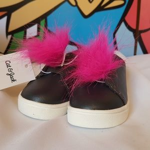 Baby Girls Slip On Fuccia Troll Hair Sneakers